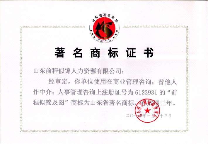 著名商标证书1